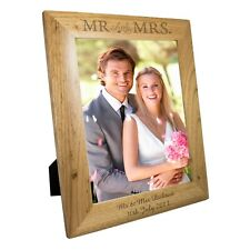 Personalised Wooden Oak MR and MRS Photo Picture Frame 5x7 6x4 10x8 Gift Wedding