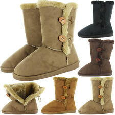 New Womens Faux Fur Boots Suede Mid Calf Fashion Winter Warm Sheepskin Shoes