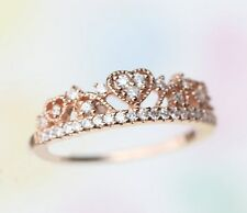 Princess heart-shaped tiara Rose gold ring with CZ/ 925 Sterling silver