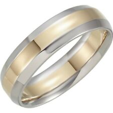 Beveled Edge Wedding Band in 14kt Two Tone Gold. 6 mm Width Size 4.5-13