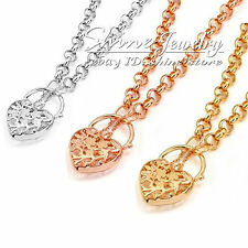 18K GOLD GF BELCHER CHAIN RINGS HEART ANTIQUE PADLOCK WOMENS SOLID LONG NECKLACE