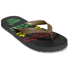 Vans Lanai Mens Flip Flops Black Brown Footwear Sandals Rasta Palm Shitake