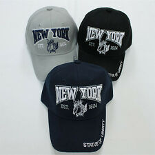 NEW YORK Baseball Cap Adjustable One Size Hat Velcro Back - Statue of Liberty