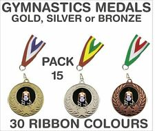 PACK OF 15 (0.86p each) Gymnastics Medals Budget & Ribbon Metal 50mm GMM7050-MR1
