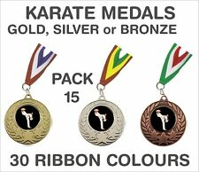 PACK OF 15 (75p each) Karate Medals Budget & Ribbon Metal 50mm Ref: GMM7050-MR1
