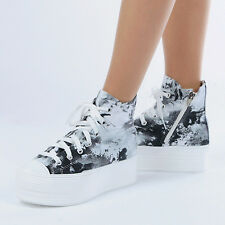 New Womens  Art Printed Heel High Top Platform Fashion Sneakers Shoes_Black