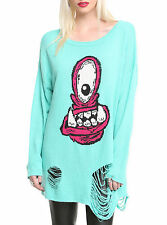 IRON FIST EYE HUNGRY LADIES TURQUOISE SWEATER (L3B)