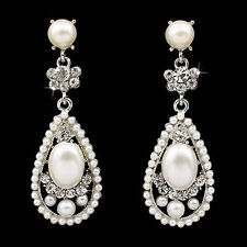 Bridal Wedding Crystal Rhinestone Pearl Teardrop Dangle  Ivory Earrings