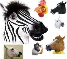 Animal Horse Zebra Unicorn Head Mask Rubber Latex Halloween Costume Theater Prop