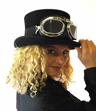 New Wool Felt Brown Top Hat Steampunk Fashion Goggles Glasses Clear Black