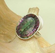 15mm Sterling Silver 13mmX19mm 19.24Cts Oval Cut Fire Rainbow Mystic Topaz Ring