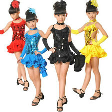 Kids Girls Latin Sets Salsa Tango Sequin Party Dance Dress Skirt Outfits Sz 5-10