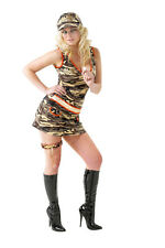 Ladies Womens Major Privates Army Fancy Dress Sexy Camouflage Military Costume