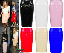 Ladies Celebrity Shiny PVC Wetlook Womens Bodycon Vinyl Pencil Midi Party Skirt