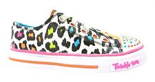 Skechers Twinkle Toes Somethin Wild Girl's White Leopard Print Canvas Shoes New
