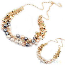 New beautiful delicate Occident Style hyperbole Multilayer pearl necklace BE7U