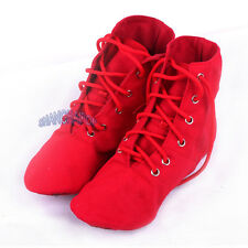 Women High Top Ballet Shoes Boots Canvas Dance Gymnastics Yoga Flat Lace Up Red