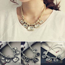 Fashion Silver Multi Crystal Rhinestone Geometry Bib Collar Necklace B98U