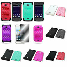 For Huawei Ascend Plus H881C - Diamond Studded Hybrid Phone Cover Case
