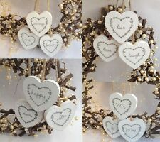 SET OF 3 WEDDING WOODEN LOVE HANGING HEARTS WEDDING GIFTS MR & MRS LETTERS SIGN