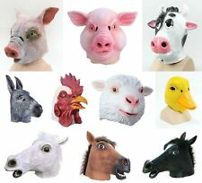 Overhead Rubber Latex Mask Farmyard Animal Masks Pig Cow Sheep Donkey Horse NEW
