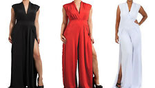 PLAIN WOMEN V NECK JUMPSUIT Wide Leg Sleeveless Leg Slit Sexy Evening Long SML
