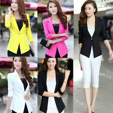 Fashion Womens Lapel One Button Blazer Jacket Slim Short Suit OL Coat Outerwear