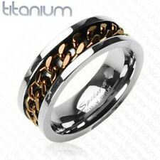 New Titanium Men's Coffee Toned Spinner Chain Wedding Band Ring Size 9-14(0153)