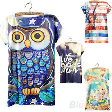 Funky Short Sleeve Owl Graphic Printed T Shirt Tee Blouse Tops for Women B28U