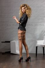 """ Catena "" Exlusive Patterned Satin Sheer Tights with Elasthan 20 Den by Mona"