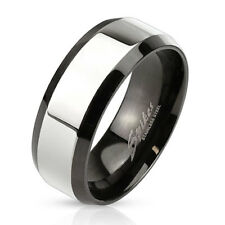 Stainless Steel Men's Two Tone Beveled Edge w/ Glossy Center Band Ring Size 9-13