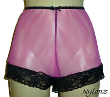 Vintage Style Completely Sheer Nylon French Knickers Pretty Pink FREE UK SHIP