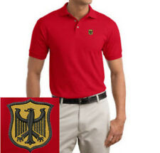 German Crest  Germany EMBROIDERED Red Polo Shirt  New