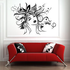Floral Haired Female Wall Sticker Female Wall Decal Art