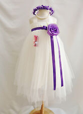 Ivory purple lapis wisteria regency plum yellow tutu princess flower girl dress