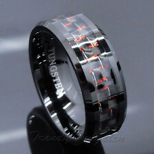 *Men's Tungsten Ring with Carbon Fiber 8mm Black and Red Wedding Band Size 6-14*