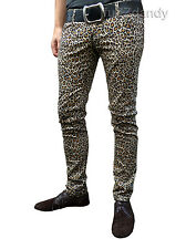 Drainpipes Pants Jeans For Men Leopard Print Hipsters Skinny