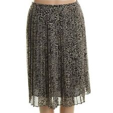 Jones New York Black-Ivory Lined Chiffon Printed Pleated Skirt Bottoms - NEW