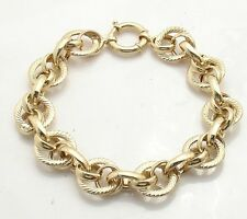 Textured Fancy Multi Circle Bracelet Genuine Real 14K Yellow Gold