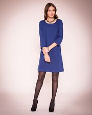 New East Womens Casual Band Detail Easy Shift Dress Knee Length 3/4 Sleeves Blue