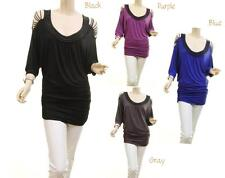 Women Beaded Cold Shoulder Peasant Ruched Dolman Tunic Blouse Shirt Top S M L XL