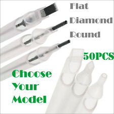 50PCS Tattoo Long Sterile Disposable Clear Nozzle Tips Tube Diamond Round Flat