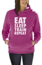 EAT SLEEP TRAIN REPEAT Women Hoodie Gym Training Workout Lift Body Building