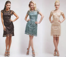 4 COLOR FORMAL OCCASION MOTHER OF BRIDE /GROOM CLASSY EVENING SHORT DRESS S-4XL