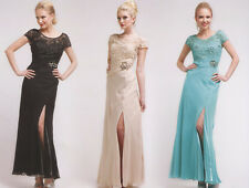 4 COLORS FORMAL OCCASION MOTHER OF BRIDE/GROOM CLASSY EVENING LONG DRESS S-2XL
