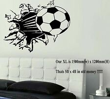 EXTRA LARGE XL FOOTBALL BALL BREAKING THROUGH WALL STICKER NEW TRANSFER UK