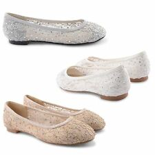 NEW WOMENS LADIES FLAT BALLET LOAFER SHOES BRIDAL WEDDING EVENING SHOES SIZE UK