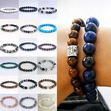 Gemstone Bracelet Stretch 8mm Genuine Stone Men Women Birthstone Natural 7.5'