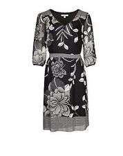 NEW MARKS AND SPENCER PER UNA MONOCHROME PRINT FLORAL  DRESS RRP £55.00