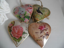 SHABBY VINTAGE STYLE CHIC DISTRESSED METAL HEART- FLORAL, ROSE, BUTTERFLY, BIRD